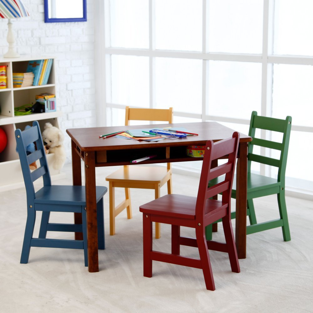 Amazon.com: Lipper Childrens Walnut Rectangle Table and 4 Chairs ...