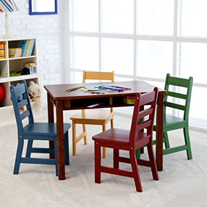 Delightful Lipper Childrens Walnut Rectangle Table And 4 Chairs Nice Ideas