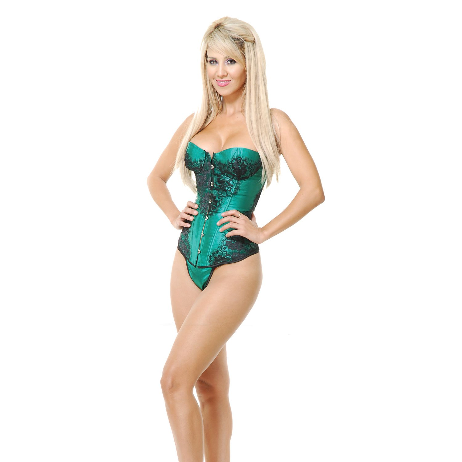 CHARADES CORSET W/LACE APPLIQUE & THONG Green Small Size