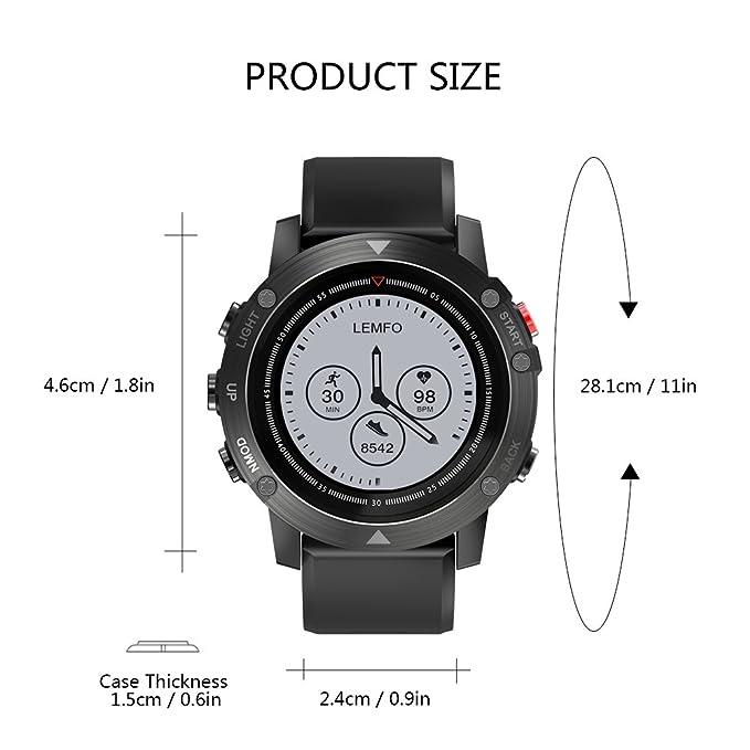 LEMFO 4.2 Inteligente Reloj Smartwatch Pulsera Inteligente con GPS Pulsera Móvil Monitor de Ritmo Cardíaco Sueño Control de Musica y Cámara, ...
