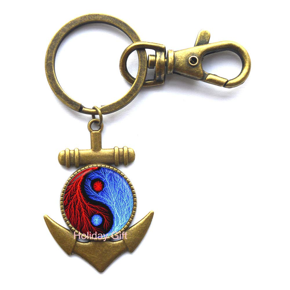 Yin Yang Anchor Keychain Jewelry Glass Dome Witchcraft Key