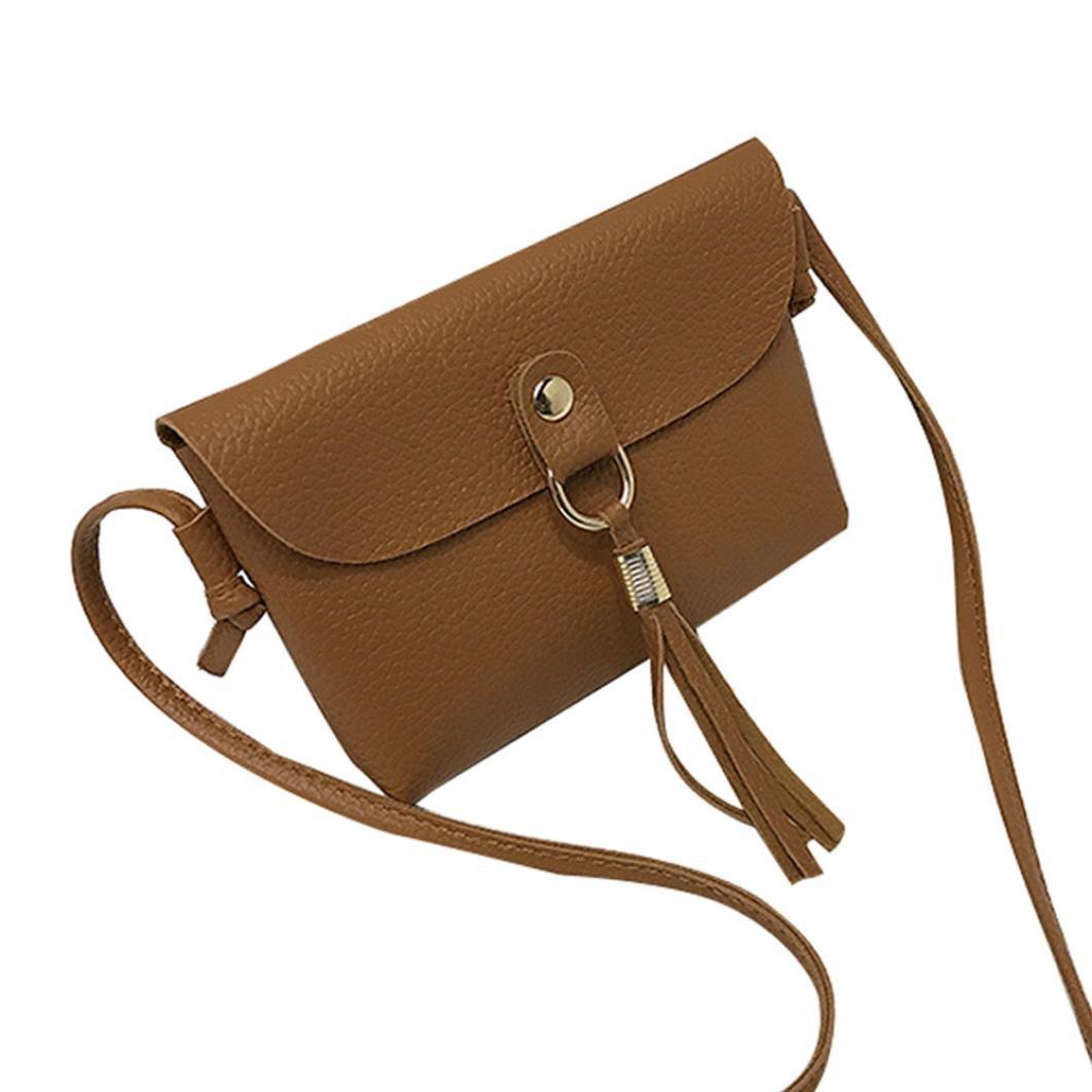 af4703578c73 Amazon.com   iLH  Cartoon Backpack ZYooh Fashion Retro Bag Vintage Handbag  Small Mini Messenger Tassel Crossbody Bag (Brown)   Sports   Outdoors