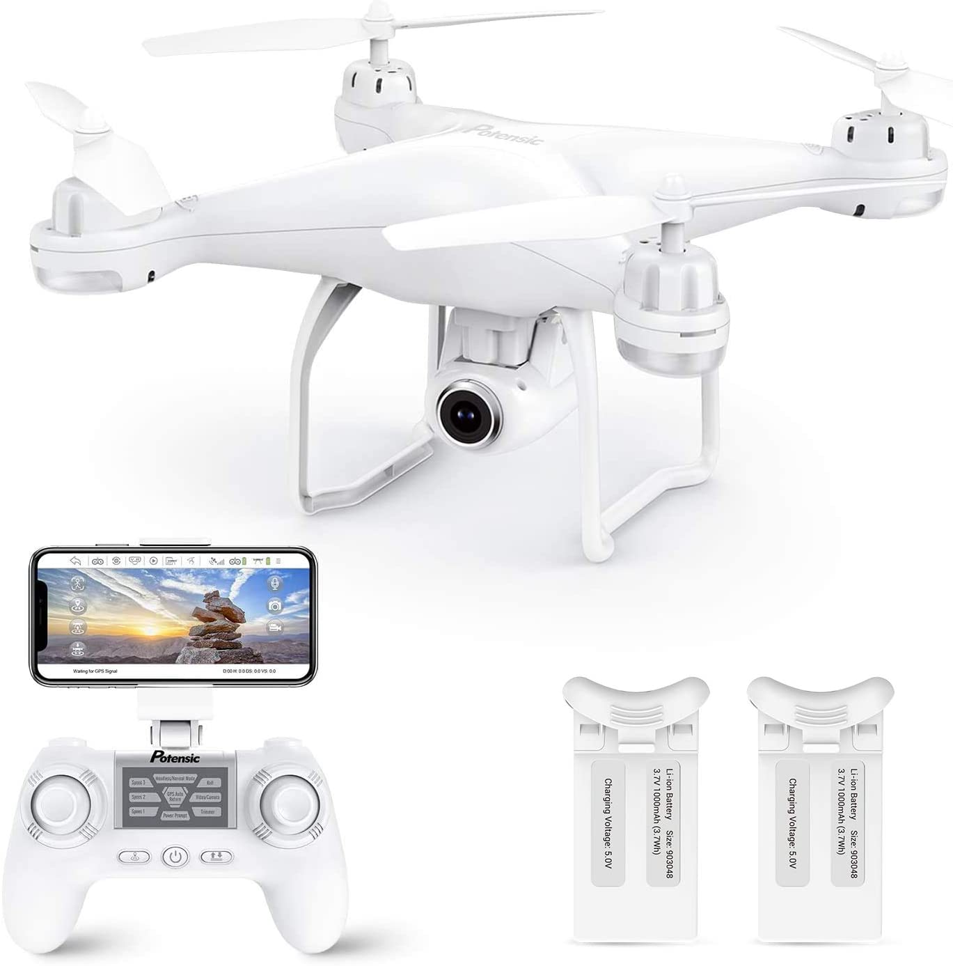 This is an image of a white drone with camera and its control.