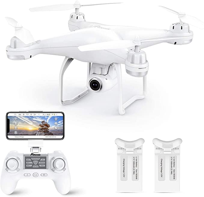 Amazon.com: Potensic T25 GPS Drone, FPV RC Drone with Camera 1080P HD WiFi Live Video, Dual GPS Return Home, Quadcopter with Adjustable Wide-Angle Camera- Follow Me, Altitude Hold, Long Control Range, White: Toys & Games