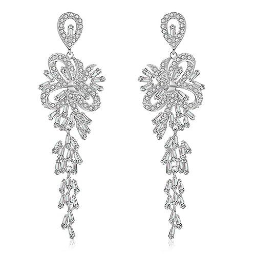 1 Paar Damen 925 Silber plattiert Zirkonia Blume Creolen Klapp Ohrringe