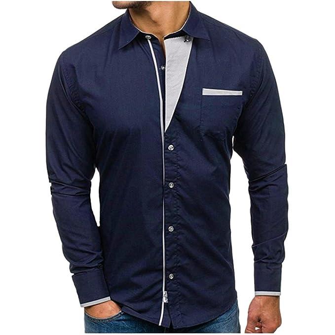 Camisa de Vestir de Manga Larga sólida Formal Delgada Formal del otoño de los Hombres Camisa Superior de la Camisa de la Solapa de la Personalidad de la ...