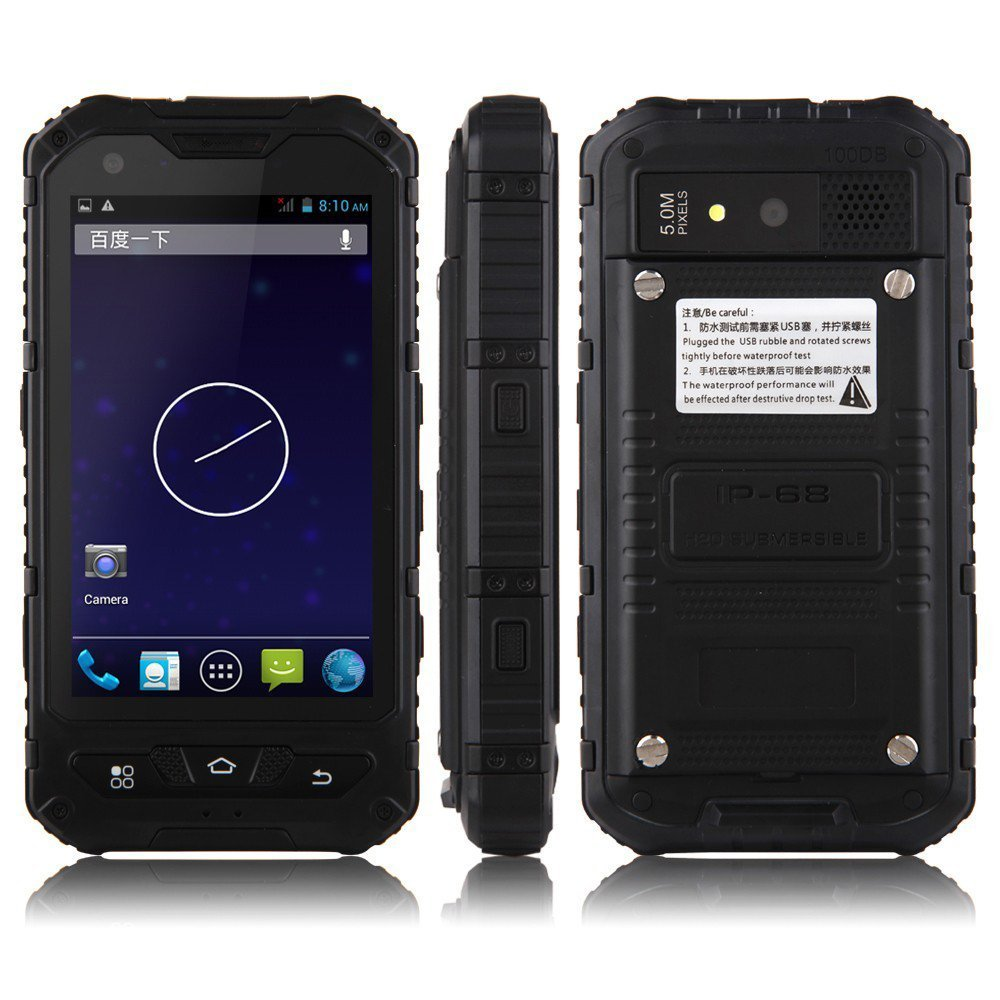 A8 Smartphone IP68 Android 4.2 MTK6572W SOS Power Bank 3000mAh Battery - Black