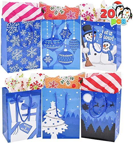 20 Pcs Blue Christmas Gift Bags, Christmas Gift Bags, Holiday Paper Bags with 6 Designs for Christmas Gift-Giving