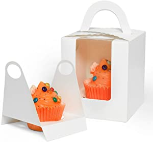 Gonioa 60Pcs White Single Cupcake Boxes,Cupcake Carriers Individual Containers with Handle and Window,Pastry Containers Muffins Cupcake Carriersfor Baby Shower Wedding Birthday Party Favor
