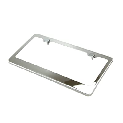 Circle Cool T304 Stainless Steel Polish Mirror License Plate Frame Holder Tag w/ Chrome Metal Cap: Automotive