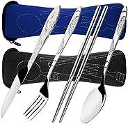 8 Pieces Flatware Sets Knife, Fork, Spoon, Chopsticks, SENHAI 2 Pack Rustproof Stainless Steel Tableware Dinne