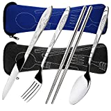 8 Pieces Flatware Sets Knife, Fork, Spoon, Chopsticks, SENHAI 2 Pack Rustproof Stainless Steel Tableware Dinnerware with Carrying Case for Traveling Camping Picnic Working Hiking(Dark Blue,Black)