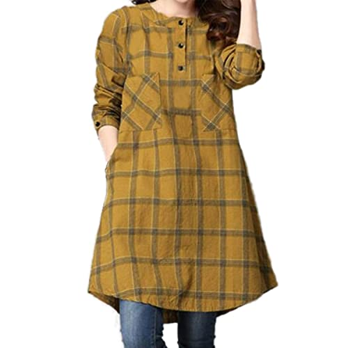 ZANZEA Mujeres Vintage Vestido Manga Larga Plaid Casual Suelto Evening Party Mini Dress