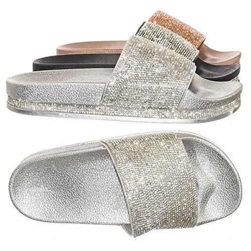 one & Glitter Slide Slippers Silver Rhinestone, 9 (Silver Slides)