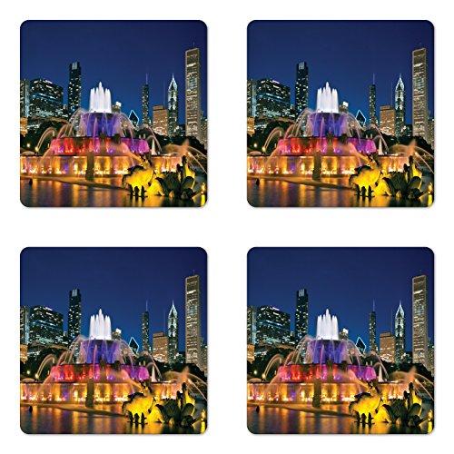 Ambesonne Chicago Skyline Coaster Set of 4, Buckingham Fountain Landmark in the Center of Grant Park Vibrant Night, Square Hardboard Gloss Coasters for Drinks, Multicolor (Best Restaurants In Buckingham)