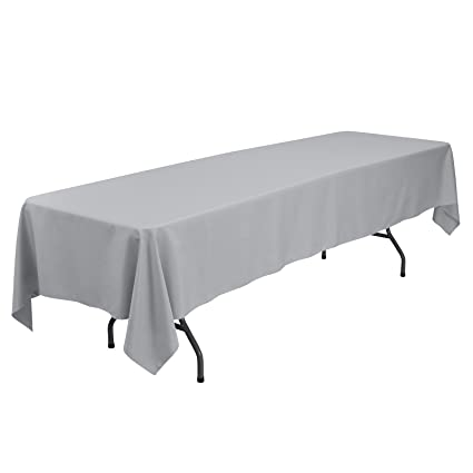 6c323641d5fa1 Amazon.com: Remedios Rectangular Table Cloth 60 x 126 inch Polyester Tablecloth  Table Cover for Wedding Restaurant Party Banquet Decoration, Silver: Home &  ...