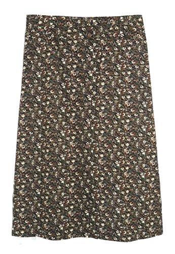 La Cera Women's Plus Corduroy Skirt 2X Black/Brown