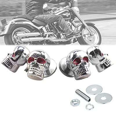 Heart Horse Skull License Plate Bolts, Universal License Plate Fasteners Screws Caps for Motorcycle Chopper Car Tag Frame, Stainless Steel Windscreen Trim Cover Replacement Kit (Chrome, 4 Pack): Industrial & Scientific [5Bkhe0900118]