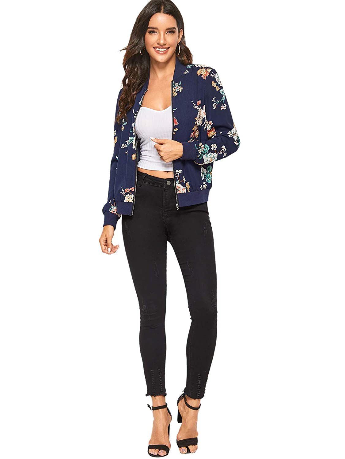 SheIn Womens Ring Zip Up Floral Print Stand Collar Baseball Bomber Jacket