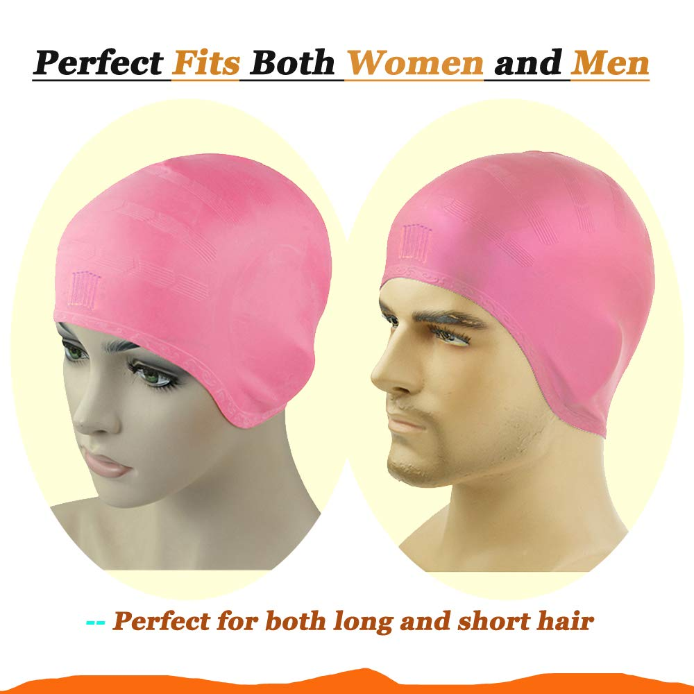 COSOOF Silicone Swimming Caps for Long Hair Waterproof Solid Swim Cap for Women Men Kids Boys and Girls for Short Hair with Ear Pocket Keep Hair Dry