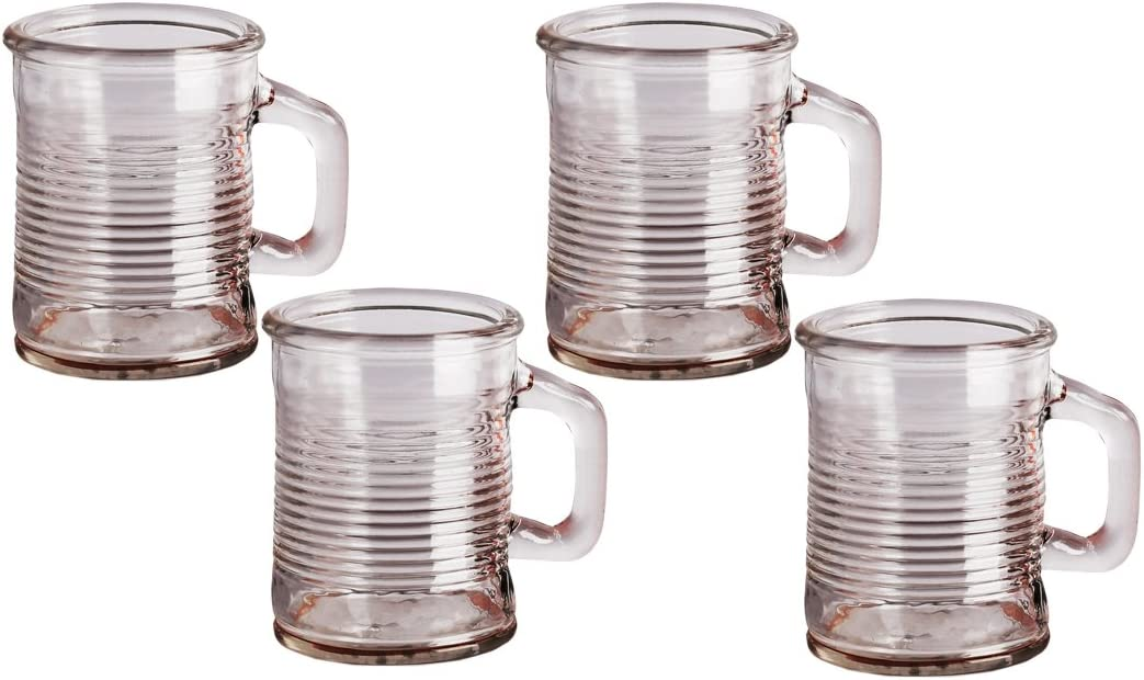 Circleware Mini Mason Jar Mug in Fun Can Shaped Glasses Set of 6 Home Kitchen Farmhouse Glassware Decor Drink Tumblers for Water, Beer, Whiskey and Cold Beverages, 5 oz, Clear