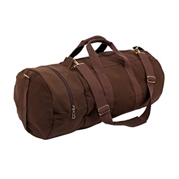 Earth Brown Canvas Round Duffle Travel Sports Bag