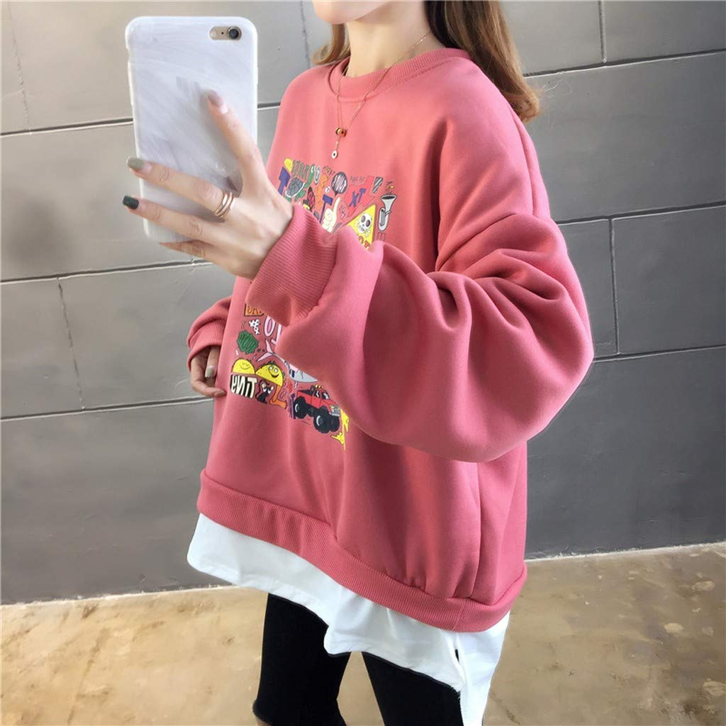 Lataw Women Sweatshirt Casual Pullover Long Sleeve O Neck Cartoon Printed Loose Cute Sporty Stylish Blouse Hooded Clothes Tunics