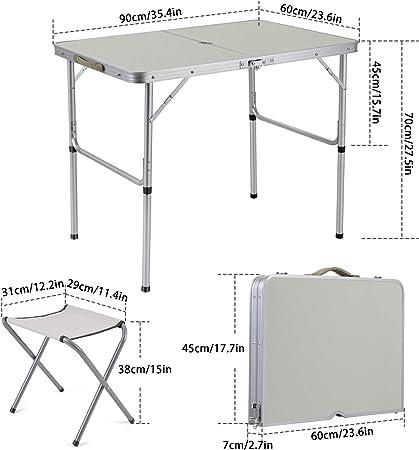 Sunkorto Sitzgruppe klappbarer Campingtisch mit 4 Stühlen 4er Set Klapptisch Tisch Biergarnitur Campingmöbel Ausrüstung für Garten Balkon Camping