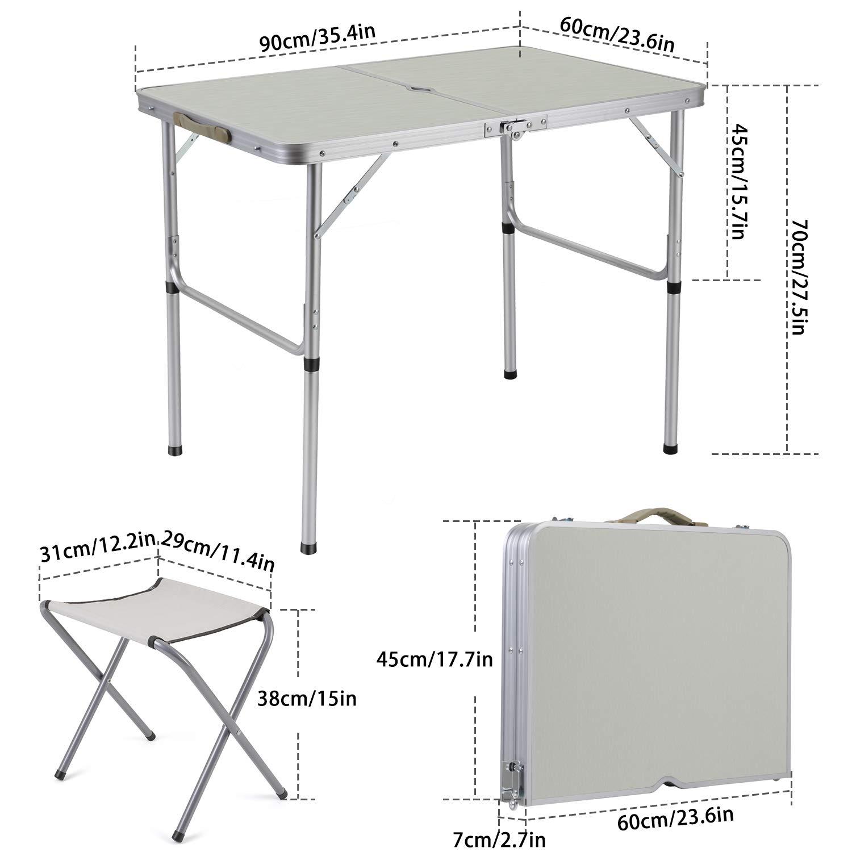 per Campeggio Barbecue 1,2 m con 4 sgabelli Sunkorto Tavolo da Picnic Pieghevole per 4 Persone cene in Lega di Alluminio Portatile e Leggero Altezza Regolabile Feste