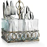 Glass Utensil Caddy - 4 Sectional on Metal Decorative Holder ~ Set of Square Vases for Loose Flowers