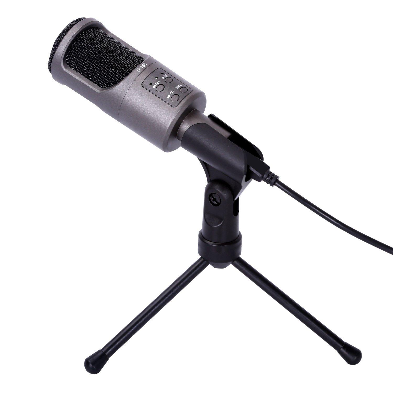 CAHAYA Condenser Microphone USB Condenser Sound Studio Recording Computer Microphone with Tripod Mic Stand for PC, Laptop, Desktop (U-188)