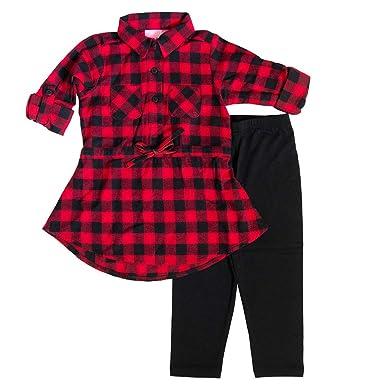 bd76da7a00cf9 Amazon.com: Good Lad 4/6X Girls Buffalo Plaid Legging Set Red: Clothing