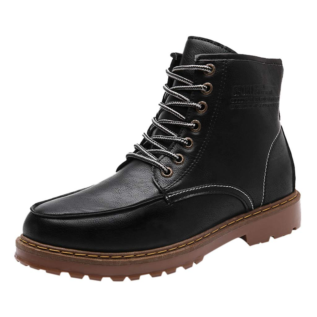 Men's Shoes, Motorcycle Combat Boots Fashion Lace up Ankle Winter Boots Casual Dress Shoes for Men (Black, 39)
