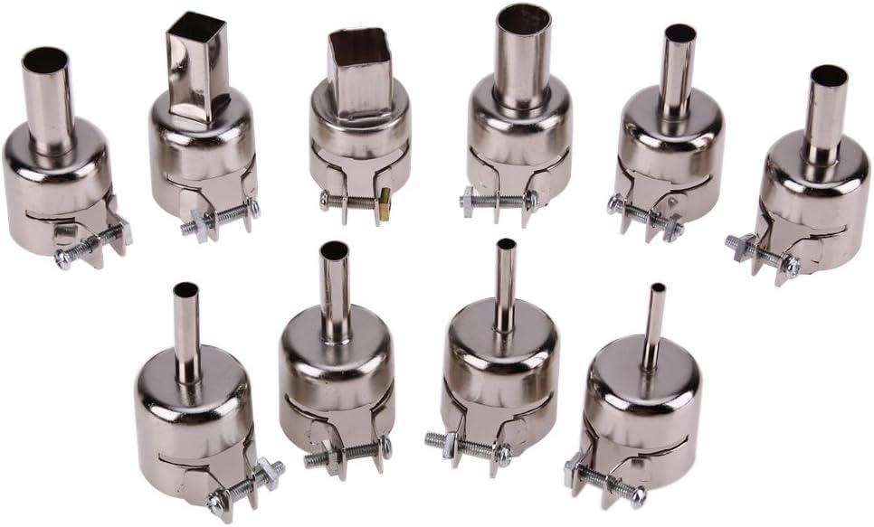 10 boquillas de acero inoxidable resistentes al calor para pistola de aire caliente de 850 852D 898 858 de soldadura de pistola de aire caliente, universalde calor pistola de aire caliente boca