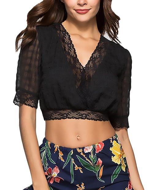Crop Tops Mujer Elegantes Verano Manga Corta V Cuello Transparentes Blusa Encaje Camisas Cortos Negro Moda Joven Niña Blusa Shirts Ropa Retro: Amazon.es: ...