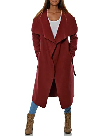 brand new 8092c e619e Damen Langer Mantel mit Taillengürtel DA 15705