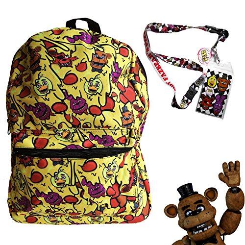 FNAF Five Nights at Freddy's School Backpack Luggage Bag with Lanyard (FNAF Cheese (Nightmare Animatronics Halloween)