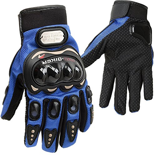 Racing Cycling Motorcycle Full Finger Gloves (Blue, Large)