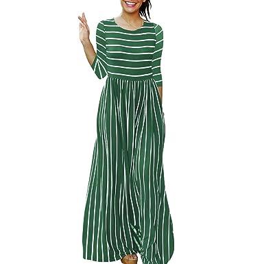 7e47817cbd8 Vinteey Women s Casual Maxi Dress 3 4 Sleeve Floor-Length Stripe Printed  Loose Fitted