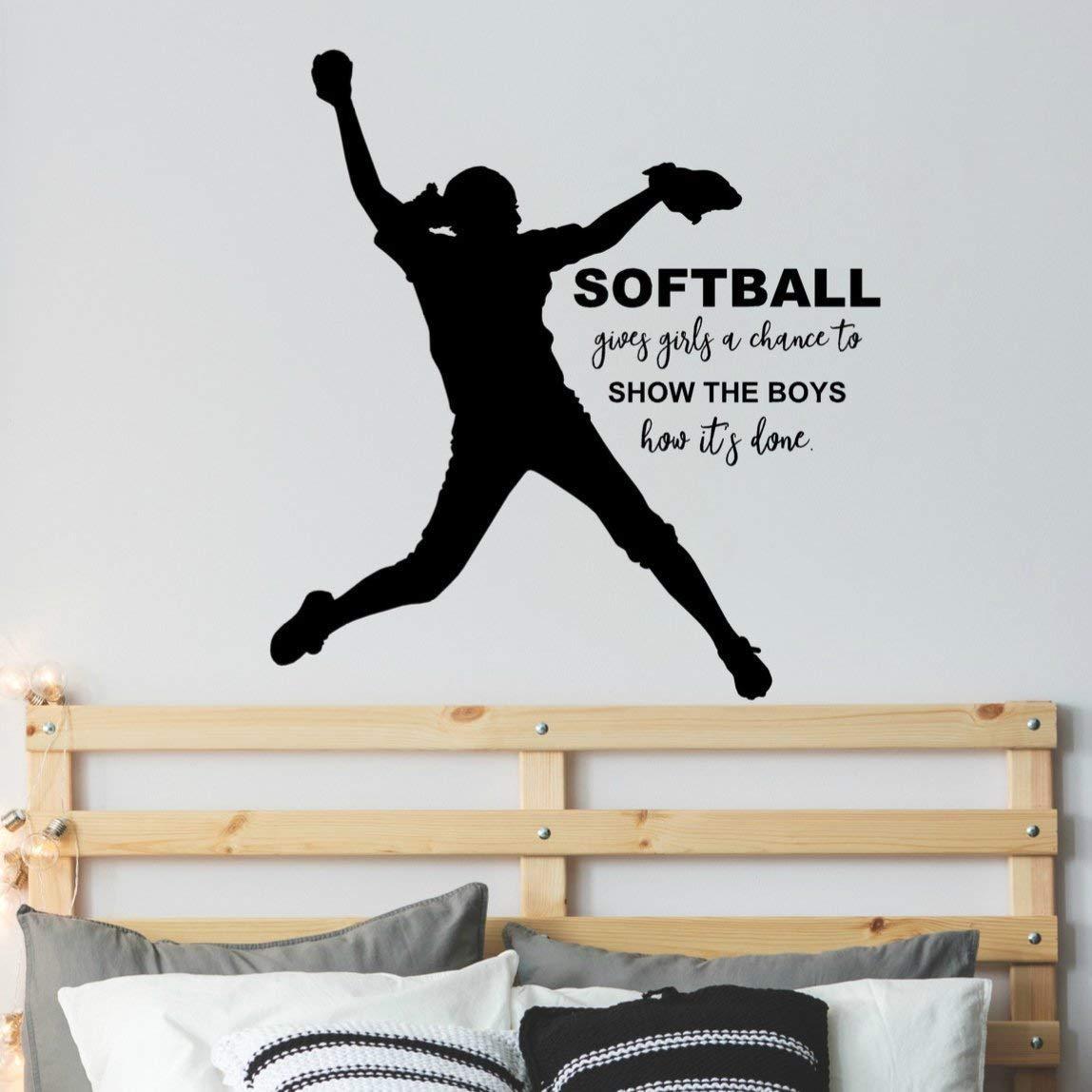 "Girl Softball Silhouette Sticker, Softball Quote Wall Decor, Softball Pitcher Decal, 34""X36"" Black"