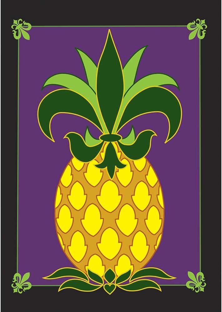 Friendship Pineapple Fleur de Lis on Purple 18 x 13 Rectangular Double Applique Small Garden Flag