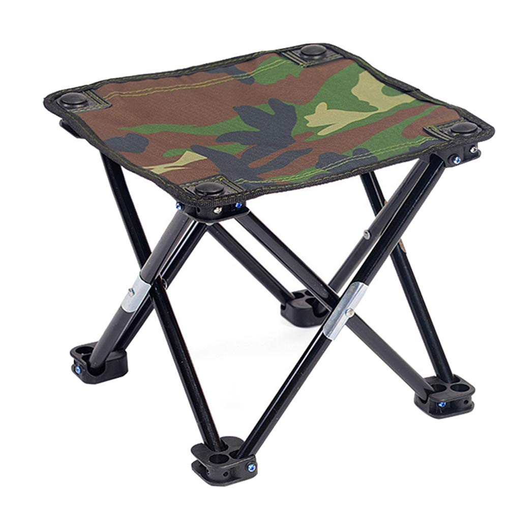 YANGYA Camping Folding Stool Portable Iron Frame Fold Up Anti-Tear Oxford Anti-Slip Feet Outdoor Stool Chair for Camping Fishing Hunting Picnic Travel-A