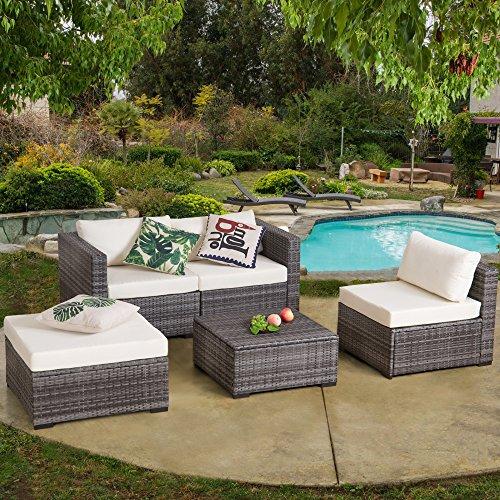 diensday outdoor seating set 5 piece patio wicker furniture set