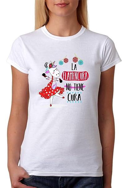 Camiseta La Flamencura no Tiene Cura. Camiseta de Mujer de Unicornio Flamenca. Ideal para