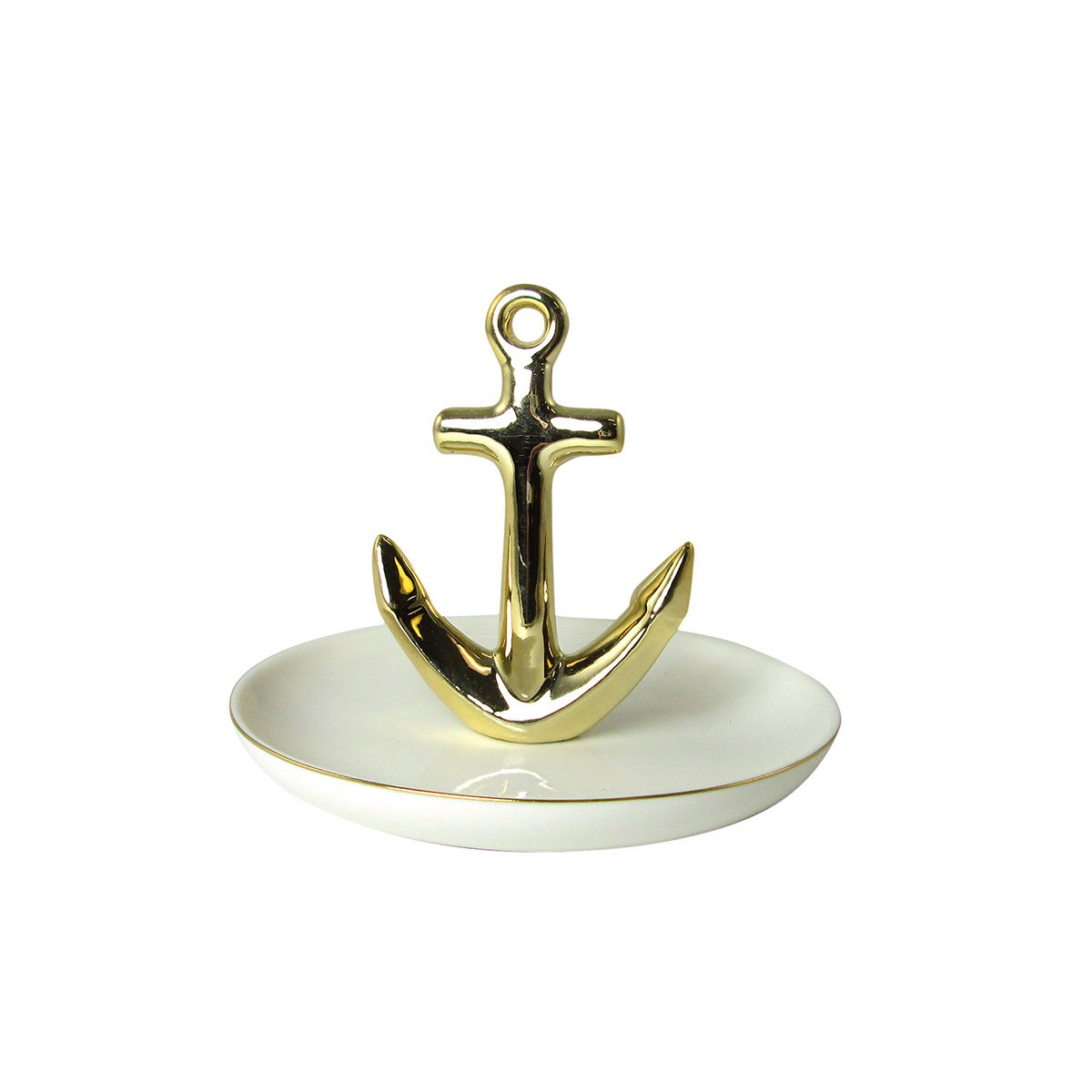 Gold Anchor on Ceramic Jewelry Dish Plate