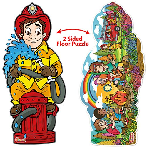 DOUzzle Jumbo Firefighter, Double Sided Jigsaw Floor Puzzles, for Kids Ages 4-8 Years Old (48 large pieces, 3 feet long). Side 1: Giant Fireman – Side 2: Campfire & - 6 Piece Large