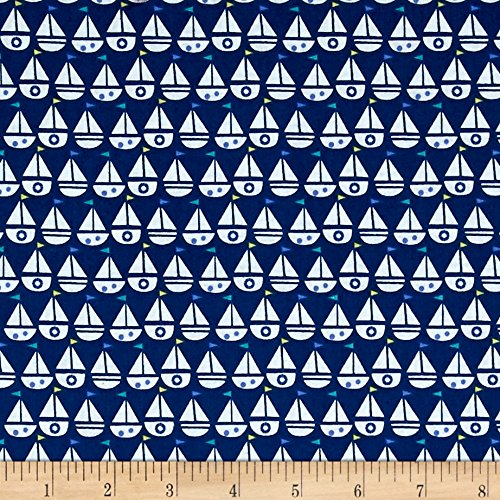 (Windham Fabrics Seaside Sailboats Navy Fabric by The)