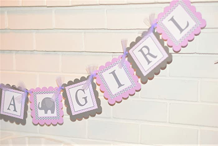 Amazoncom Lavender And Gray Its A Girl Elephant Baby Shower Banner
