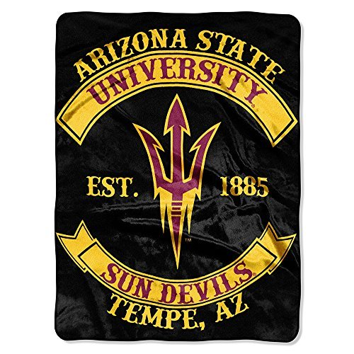 Northwest COL 802 NOR-1COL080200086RET 60 x 80 in. Arizona State Sun Devils NCAA Royal Plush Raschel Blanket, Rebel Series