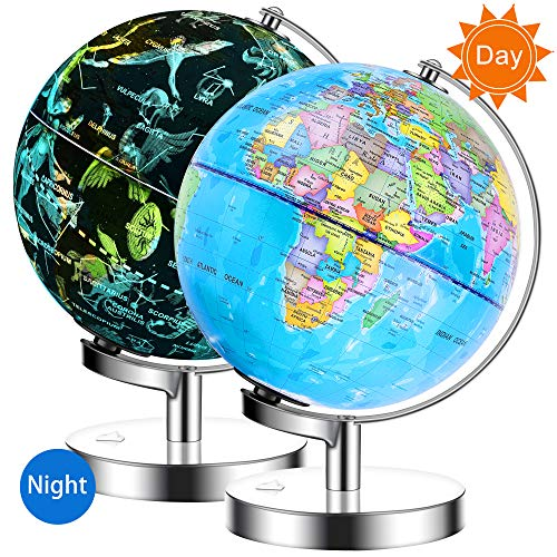 IKONG 8 inch Iluminated World Globe with Stand-Educational Gift Kids Globe Built in LED Light with World Map and Constellation View,Interactive Desktop Earth Globe,Magnifier & Batteries Included ()